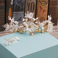 Korean exquisite bride Snowflake Earrings Set Wedding headdress crown silk flower photography accessories 7632