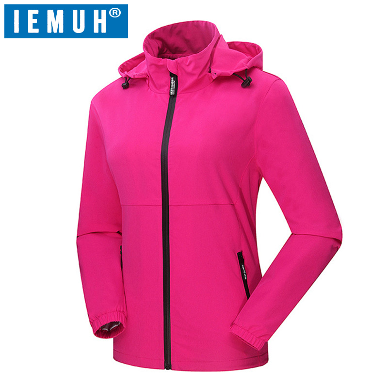 IEMUH Brand New Women Spring Autumn Breathable Thin Softshell Jackets Outdoor Waterproof Hiking Trekking Camping Fishing Jackets