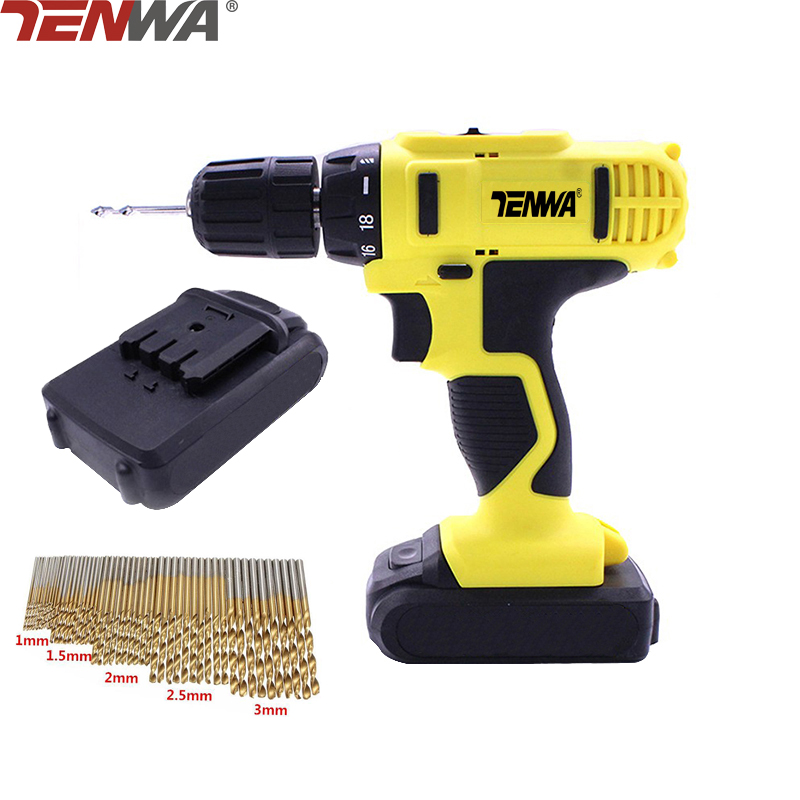 TENWA 21V 2 Speed 2* Batteries Electric Drill With 50 PCS Twist Bits Power Tool Sets Lithium Cordless Drills HHS Steel Bits Set 99pcs high speed steel twist drill bits 1 5mm 10mm tool with case
