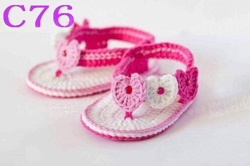 Free shipping Handmade Crochet Shoes Baby girl Flip Flops White with pink  flower Baby Sandals