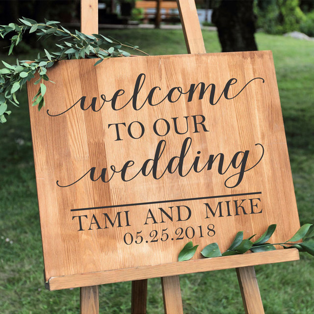 Us 8 9 15 Off Simple Personalized Wedding Vinyl Sticker Custom Quotes Welcome Sign Names And Date Decal Wedding Signs Chalkboard Mirrors Wd14 In