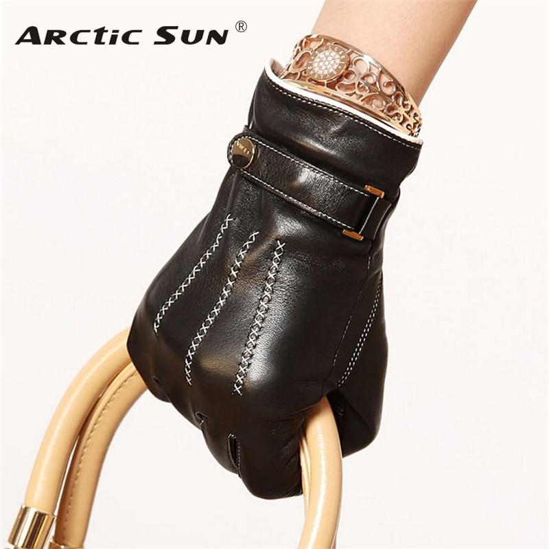 Hot Sale 2019 Women Gloves Top Fashion Sheepskin Glove Hand Embroidery Female Lambskin Genuine Leather Buckle