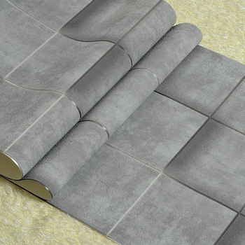цена на Modern Industrial Style Wallpaper Gray Imitation Tile Non-woven Living Room Bedroom TV Backdrop Wall Paper Roll
