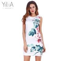 Yilia White Dress Women 2017 Summer Elegant Split Patchwork Floral Print Bodycon Dress Rose Sheath Pencil