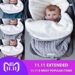 2018 Thick Baby Swaddle Wrap Knit Envelope Sleeping Bag Newborn Infant Warm Bands Indoor Infant Stroller Sleeping Bag