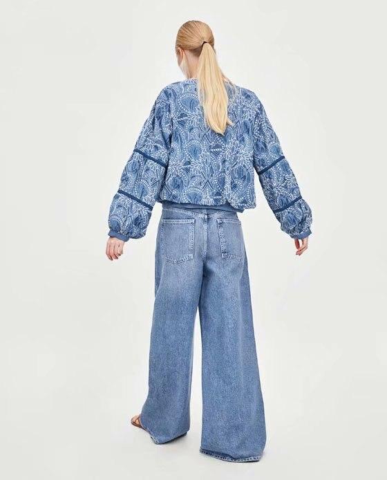 Flétri Denim Taille Patchwork Femmes Plus La Vestes Dentelle Gland Veste Casaco 2018 Broderie Feminino Bleu Bomber Impression rr60Bqxd