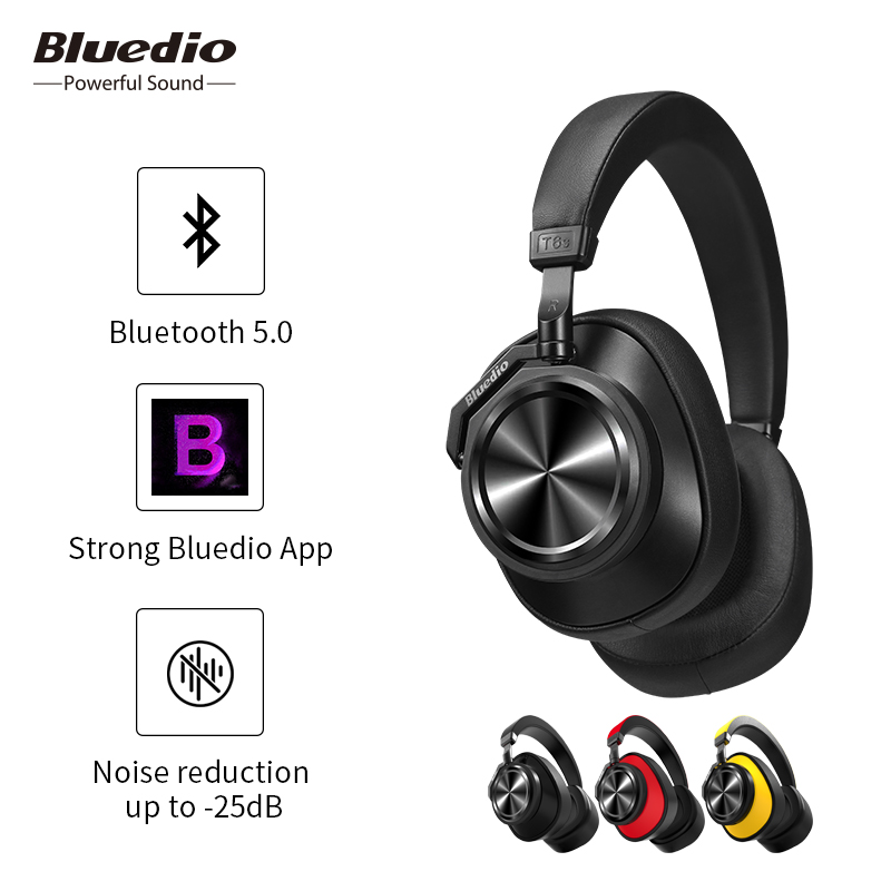 Bluedio T6S wireless bluetooth headset noise reduction over ear headphones with microphone for phones support voice