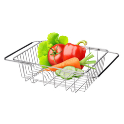 Stainless Steel Vegetables Drain Rack Adjustable Sink Fruit Storage Holder Dish Home Organizer Drying  Kitchen Functional Basket