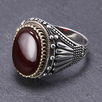 Guaranteed Real 925 Sterling Silver Mens Rings Big Vintage Rings In Fijne Sieraden Turkish With Stones Turkey Jewelry Anillo