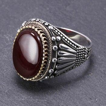 Plata de Ley 925 auténtica anillos para hombre con ojo de tigre piedras naturales grandes anillos Vintage en Fijne sirenen joyería de Turquía turca