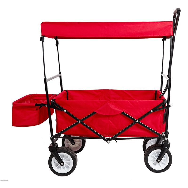 Outdoor Folding Wagon Collapsible Utility Cart With Removable Canopy And  Storage Basket Garden Trolley  In Kitchen Islands U0026 Trolleys From Furniture  On ...