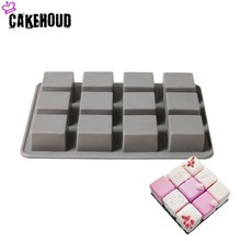 CAKEHOUD 12holes Small Square 3D Shape Non-Stick Silicone Cake Mold for Baking DIY Jelly Muffin Mousse Ice-creams Chocolate Tool