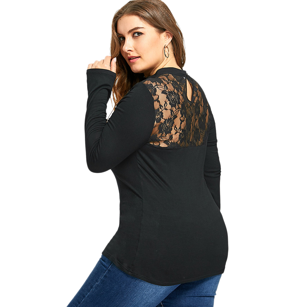 AZULINA Blouse Shirt Plus Size Women Clothing Lace Insert Keyhole Top Gothic Black Red Long Sleeves Blouses Blusas Pullover 5XL
