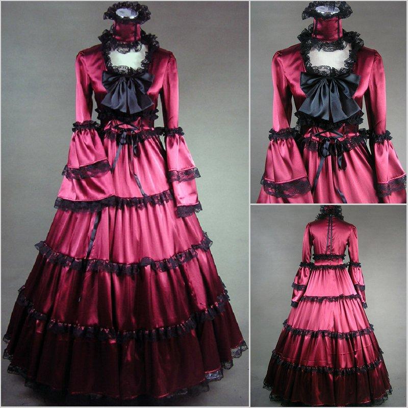 (GT011) nouveauté femmes demi sans manches gothique victorien Lolita robe de bal robe de bal fantaisie robe Halloween Costume de fête