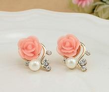 Christmas Gift Pearl Rose Flower Beads Crystal Vintage Earrings For Women OL Style Cute Sweet Stud Earrings Fashion Fine Jewelry