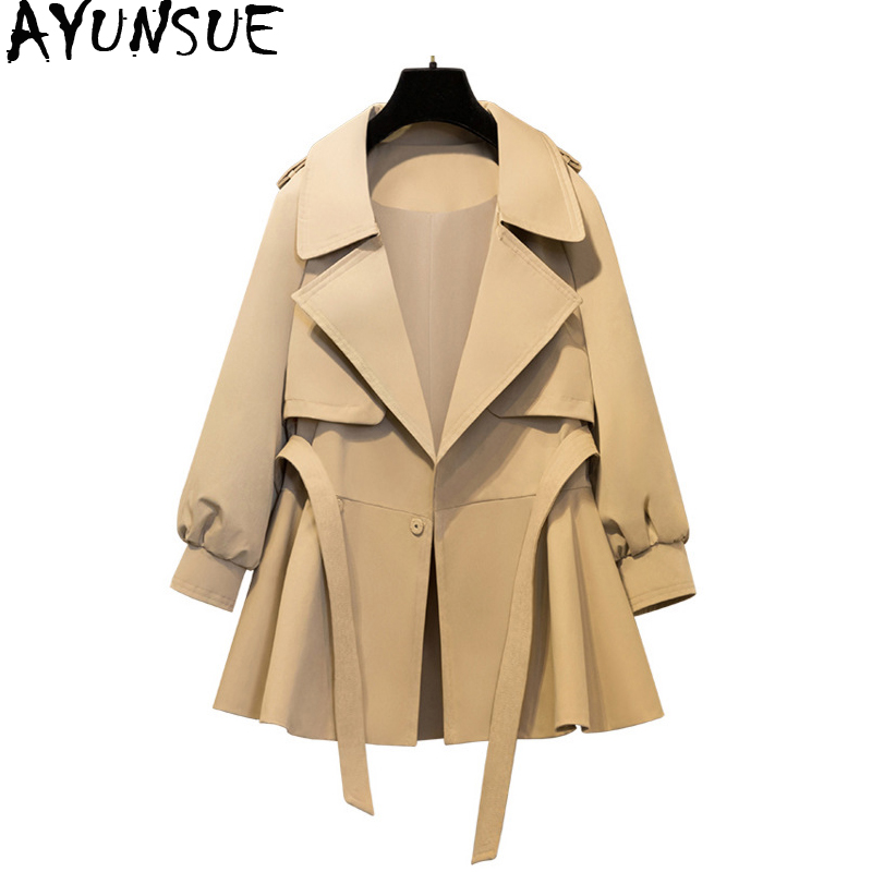 AYUNSUE Casaco Feminino 2019 Plus Size Short   Trench   Coat Korean Style Female Abrigos Outwear Woman Autumn Coats KJ129