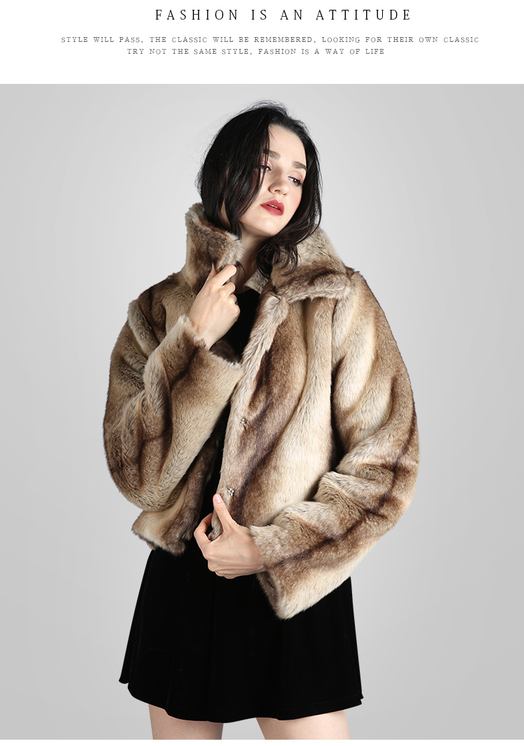 45fab920090 US $29.56 61% OFF|Hot Selling 2018 Winter New Women Faux Rabbit Fur Coat  Turn down Collar Camel Overcoats Loose Warm Female Leather Jacket-in Faux  Fur ...