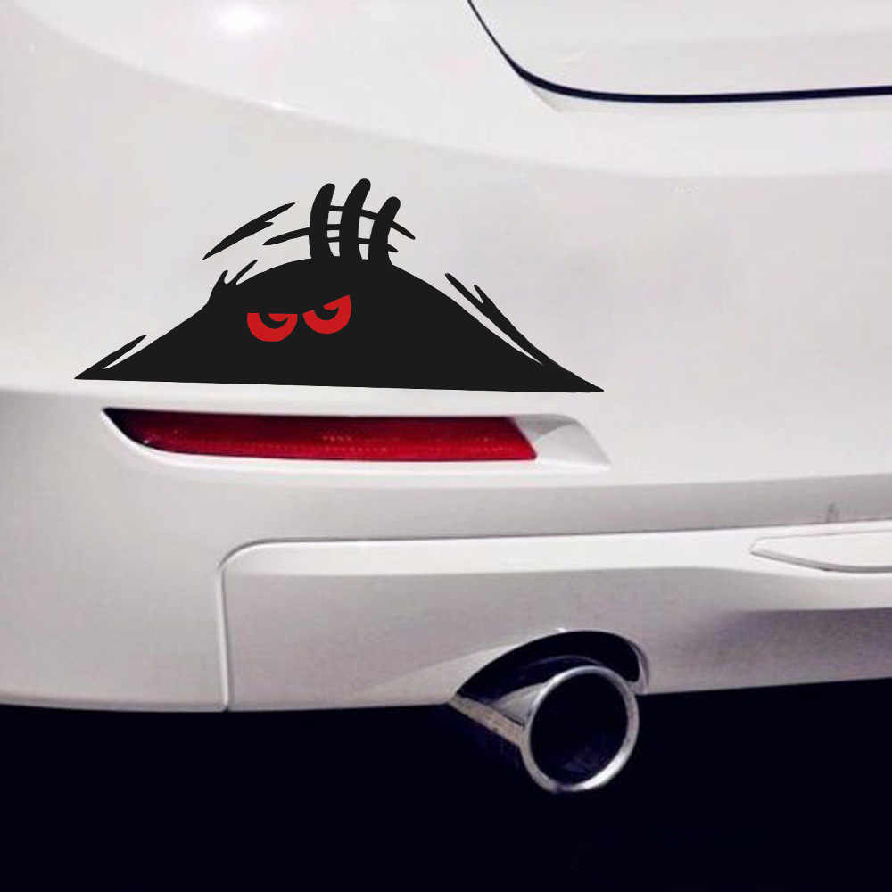 New Coming Funny Red Eyes Monster Peeking Car Bumper Window Vinyl Decal Sticker Water Proof Auto Bumper  Decal High Quality