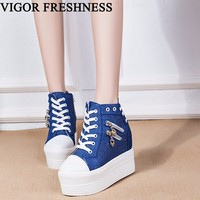 VIGOR FRESHNESS Woman Vulcanized Shoes Autumn Canvas Spring Shoes Women Pumps High Platform Sneakers White Lady Spike Heels WY78