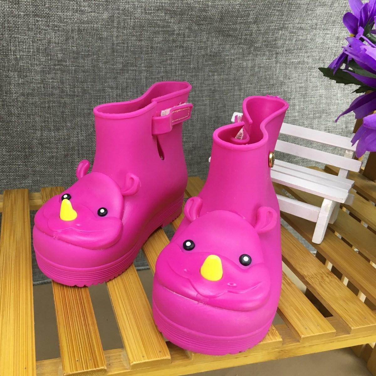 Bottes de pluie pour enfants nouveau anti-dérapant garçons filles couleur unie tête de rhinocéros gelée bas baril bébé chaussures de pluie imperméable Eur 25-29 #2