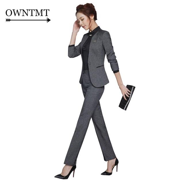 59c94f5fee6 Printemps Slim travail porter femmes pantalon veste OL mode Blazer formel  avec pantalon ensemble grande taille