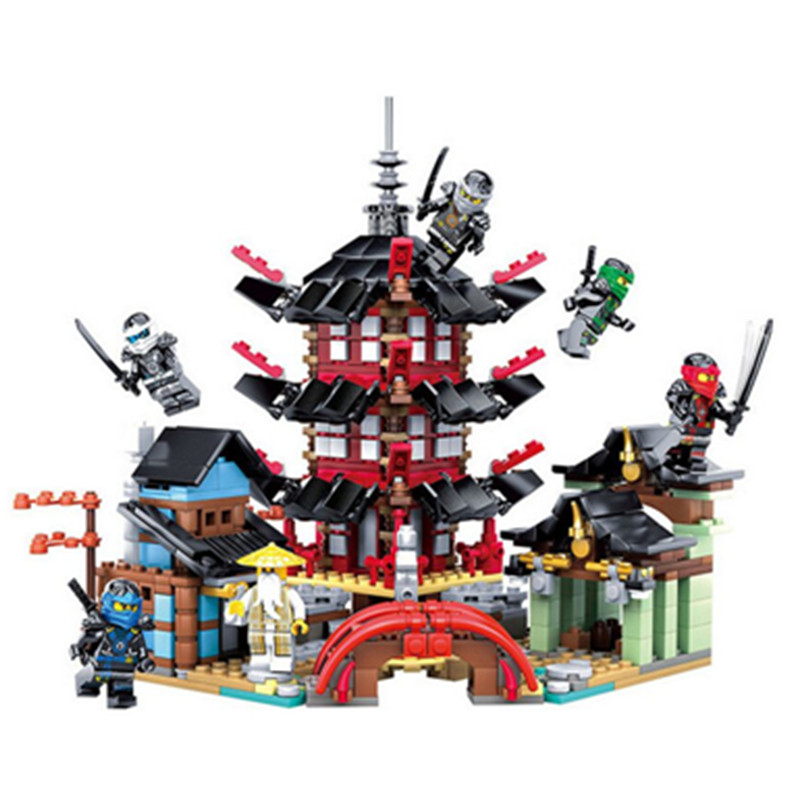 737p Ninja Temple of Airjitzu Ninjagoes Smaller Version Bozhi Blocks Set Compatible with legoingly Toys for Kids Building Bricks new bela 10530 ninjagoes toy building blocks phantom ninja chaos samurai cave 1307pcs 70596 06039 gift boy set