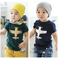 Hot sale in the shop Sz100~140 child clothing children tops tees boys short sleeve t-shirts girls t shirts plane cartoon