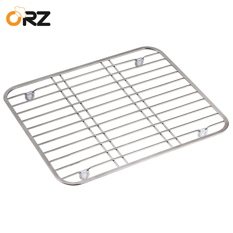 ORZ 304 Stainless Steel Sink Drainer Rack Multifunctional Kitchen Fruit Vegetable Dish Drying Protector Grid
