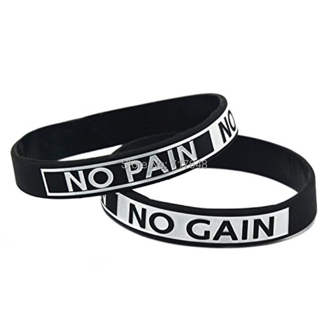 Us 120 0 200pcs Crossfit Workout Excercise Motivational No Pain Gain Wristband Silicone Bracelets Free Shipping By Fedex In Cuff From