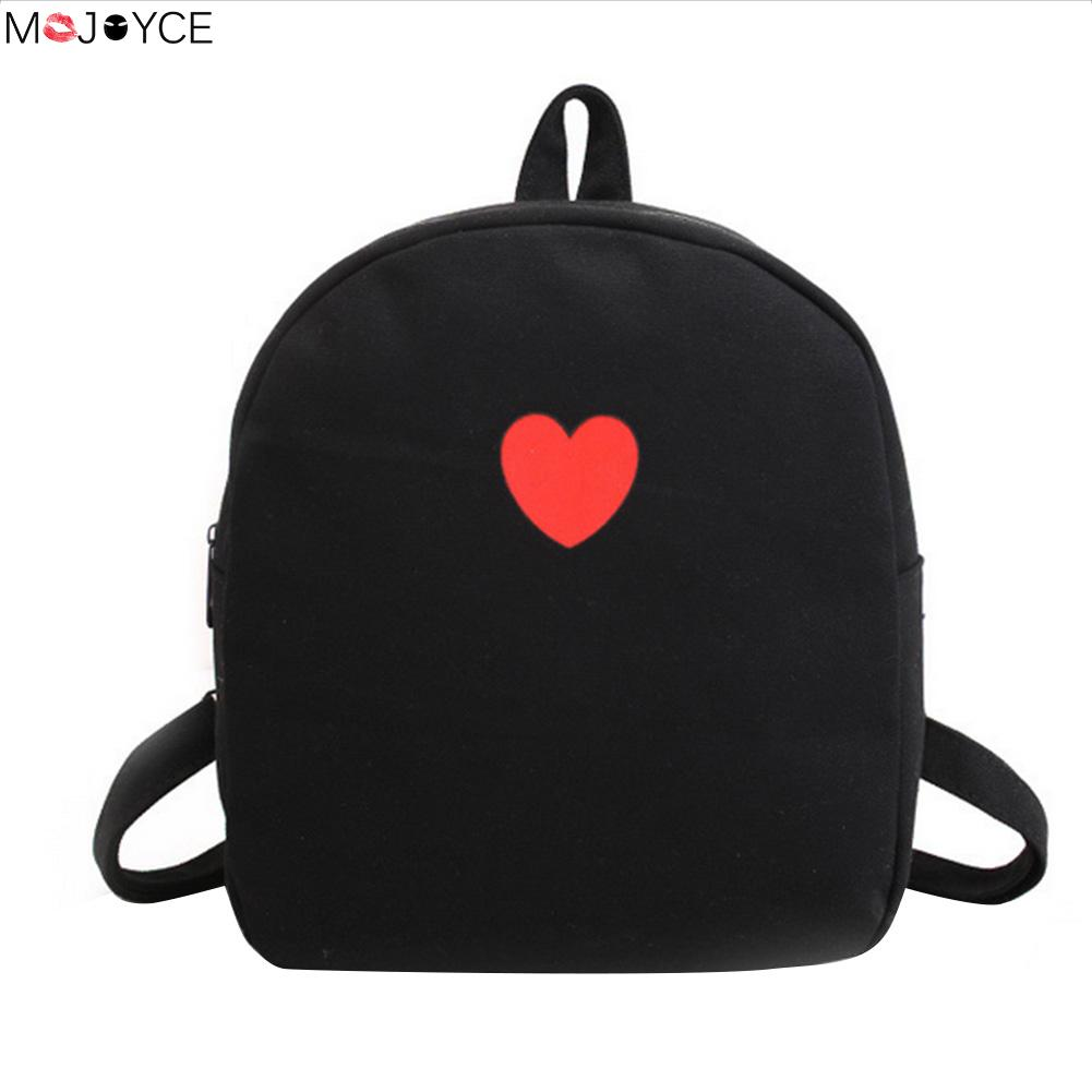 Love Heart Printed Mini Rucksack for Teenager Girls Cute Small Designer Schoolbag Backpack feminina Canvas Shoulderbags mochila cute love heart hollow out bracelet watch for women