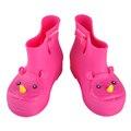 Colorido calidad cómodo suave niños rinoceronte niñas rainboots botas mini melissa jelly shoes zapatos de agua corta de pato niños