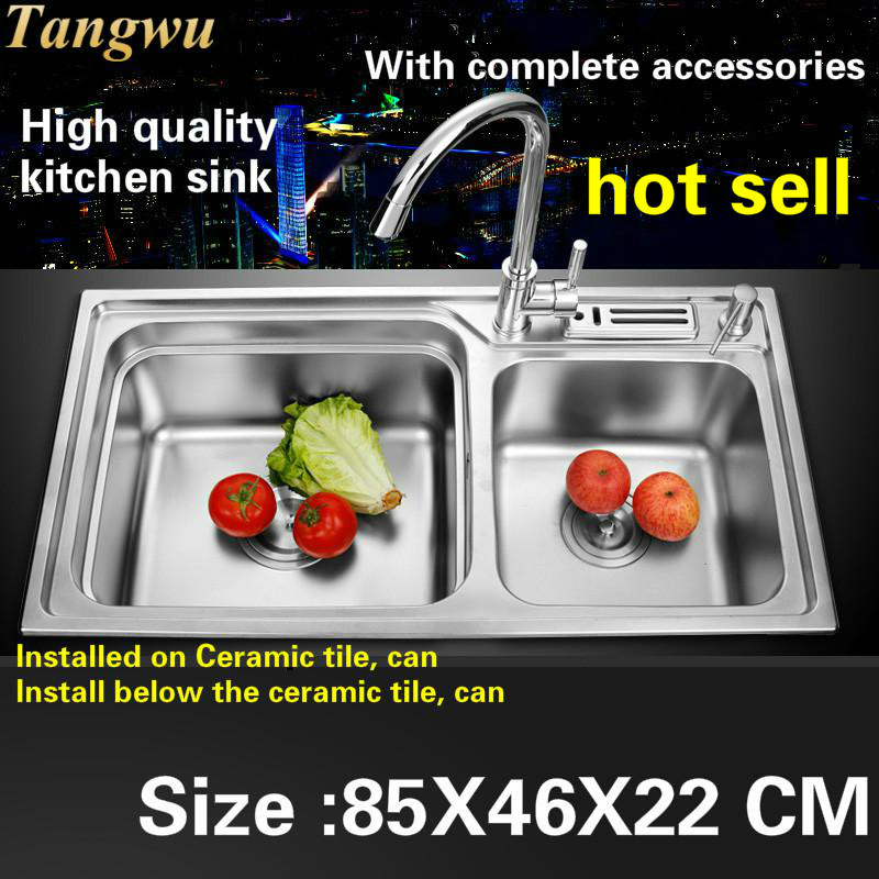 Tangwu Food grade 304 stainless steel 0.8 MM thick double groove multi-functional high-grade large kitchen sink 85X46X22Tangwu Food grade 304 stainless steel 0.8 MM thick double groove multi-functional high-grade large kitchen sink 85X46X22