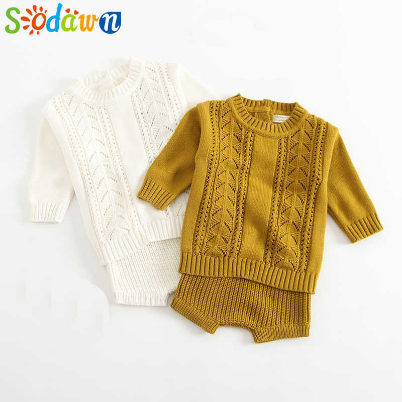 Sodawn Autumn Winter Models Baby Girls Boy Clothes Cotton Knit Suit Long-Sleeved Hollow Shirt + Shorts 2PCS Kids Sweater Set