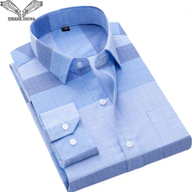 2018 New VISADA JAUNA Fashion Casual Men Shirt Fit Slim Long Sleeve Male Shirt Turn-down Collar Printed Thin Camisas Homme N8961