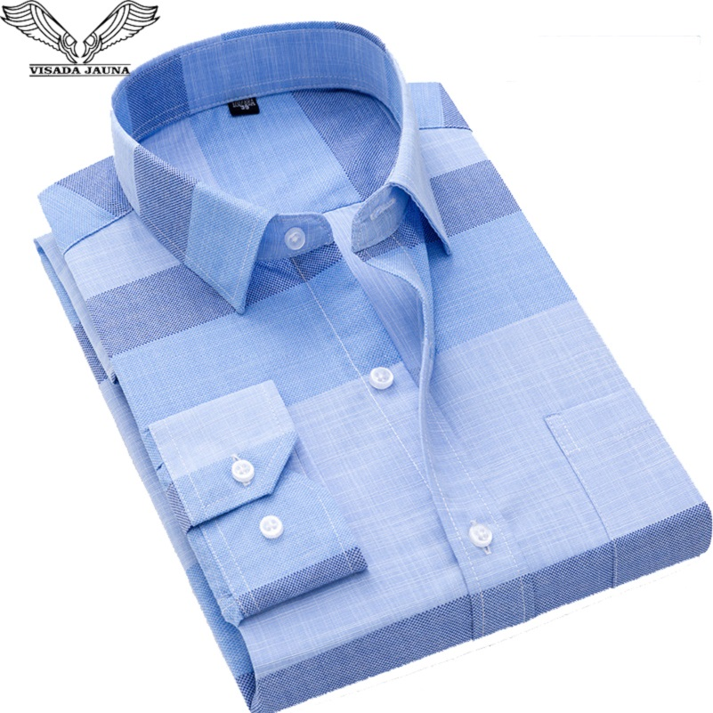2019 New VISADA JAUNA Fashion Casual Men Shirt Slim Fit Long Sleeve Male Shirt Printed Plaid Business Shirts Dress Camisas Homme