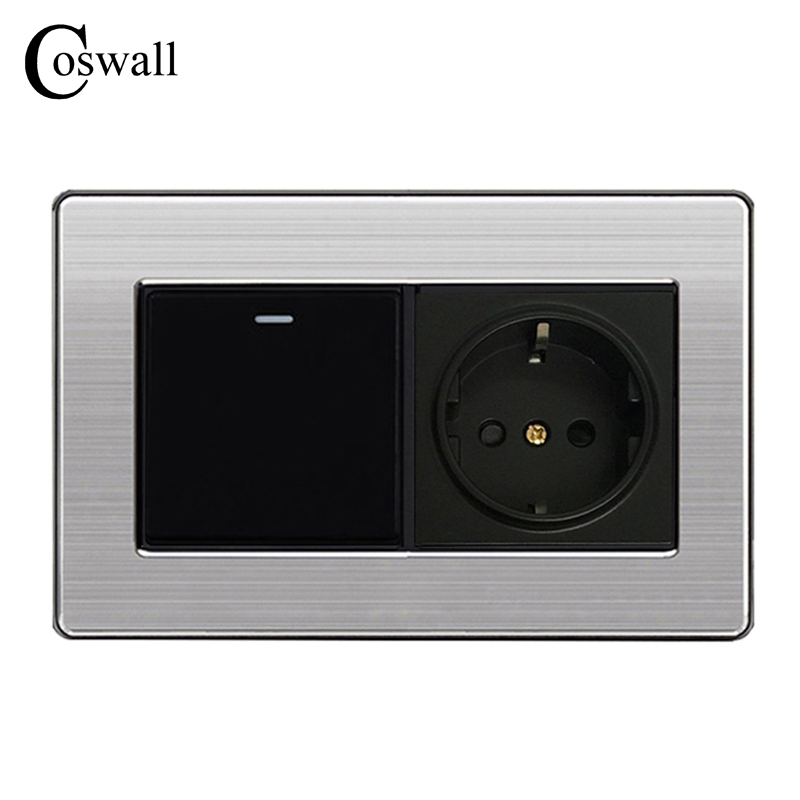 Coswall 16A EU Standard Wall Power Socket Outlet With 1 Gang 1 Way Push Button Light Switch Stainless Steel Panel 146mm*86mm coswall 16a eu standard wall double socket dimmer regulator light switch stainless steel panel 236 86mm