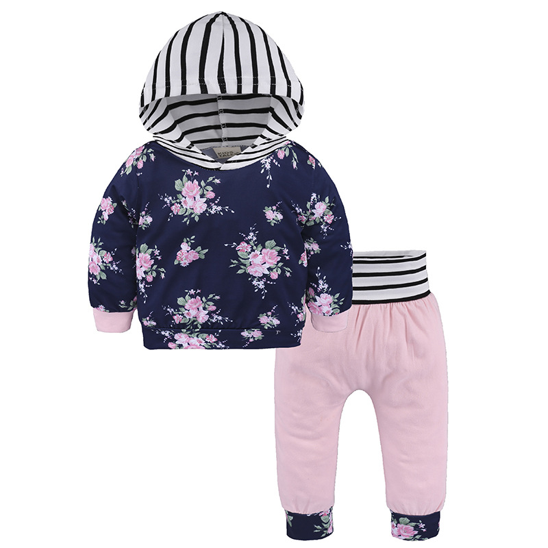 2017 New Baby Floral Girl Clothes Set Newborn Sets with Hoodies Top + Trousers Suits 2 Pcs Long Sleeve Autumn Bebes Suit