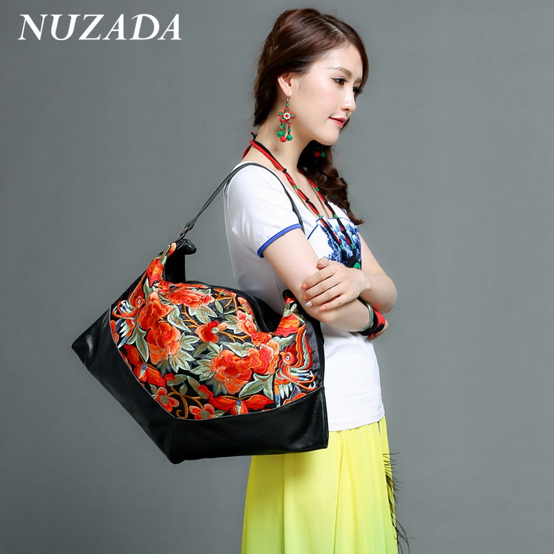 Brands NUZADA Women Ladies Hand bag Handbag Tote Satchel Shoulder Messenger Crossbody Bags Genuine Leather embroidery