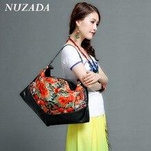 Marken NUZADA Frauen Damen handtasche Handtasche Tote Satchel Shoulder Messenger Crossbody Taschen Aus Echtem Leder stickerei sxd-015