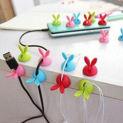 4pcs Winder Wrap Cord Cable Storage Desk Set Rabbit Shaped Wire Clip Organizer Space Saving Desk Accessories Office Supplies