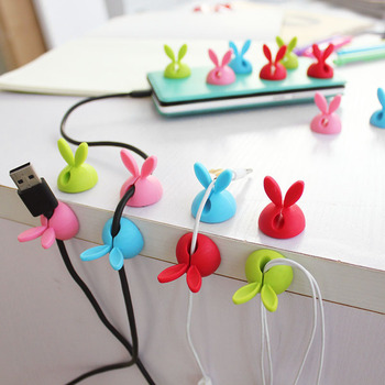 4pcs Winder Wrap Cord Cable Storage Desk Set Rabbit Shaped Wire Clip Organizer Space Saving Desk Accessories Office Supplies