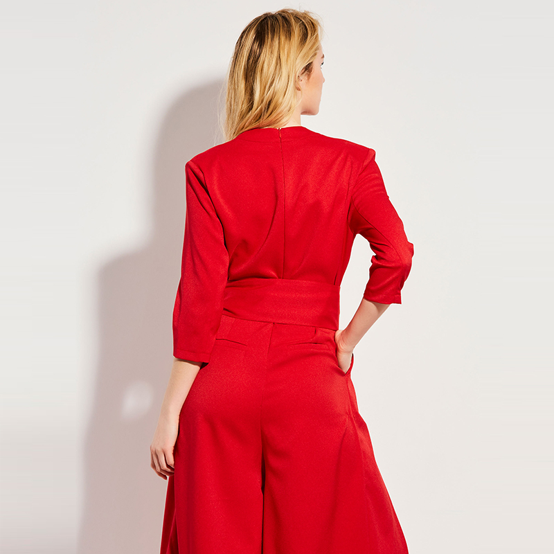 5bb82084e50 Clocolor Summer Casual Jumpsuit High Waist Full Length Pleated Patchwork  Party Beach Elegant Loose Red Jumpsuit Women Jumpsuit-in Jumpsuits from  Women s ...