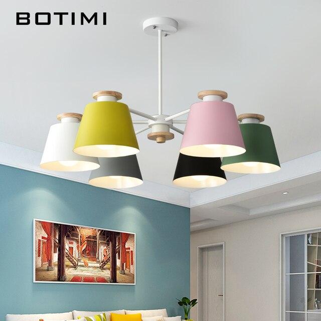 BOTIMI Moderno Colorato Lampadario Per Soggiorno LED di Soffitto Lustre di Legno Lampada A Sospensione 3 6 8 Arms Camera Da Letto Illuminazione Della Cucina