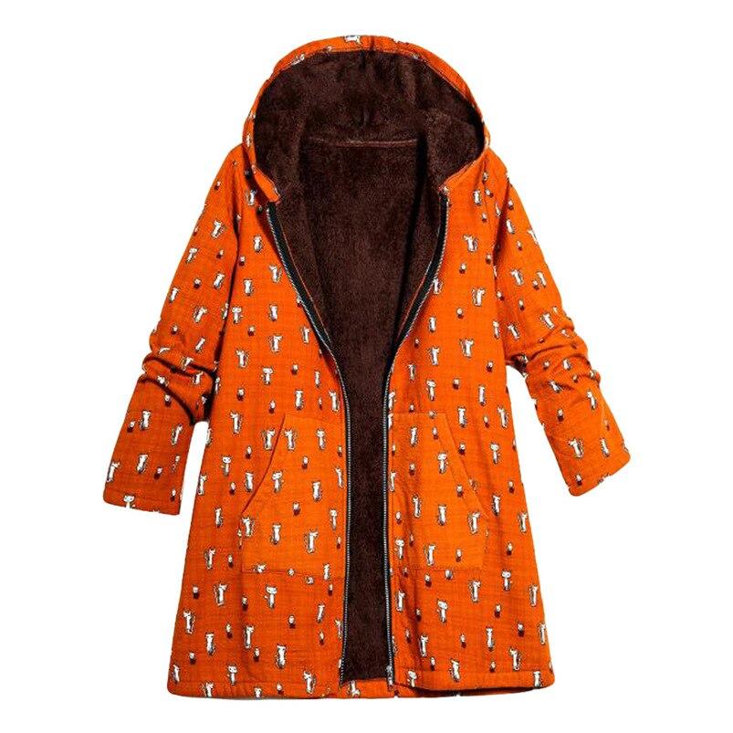 Cat Print Winter Coat Women 2018 Fashion Coat Girl Long Sleeve Hooded   Parkas   Women Jacket Slim Thick Coat femenino #N23 #N#N
