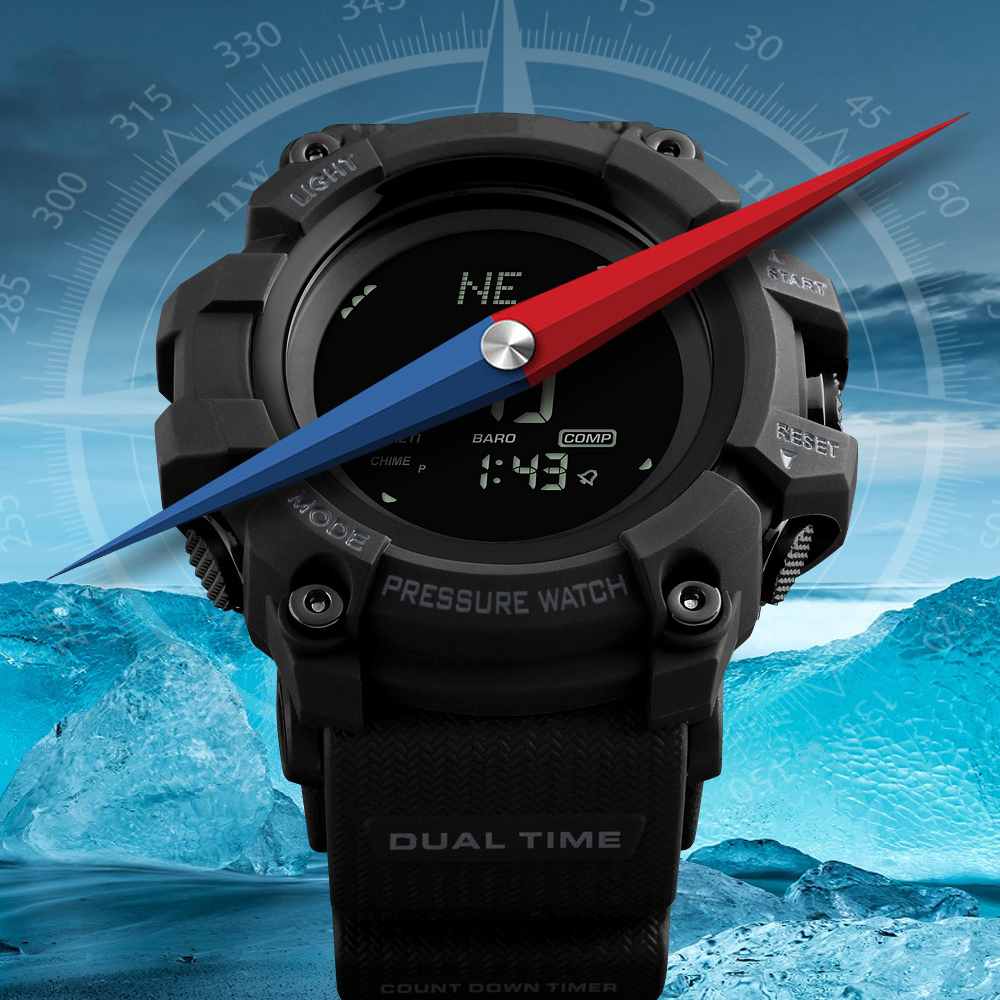 Men's Sports Watches Countdown Pressure Compass Watch Alarm Chrono LED Digital Wrist Watch Waterproof Clock Relogio Masculino 2018 amuda gold digital watch relogio masculino waterproof led watches for men chrono full steel sports alarm quartz clock saat