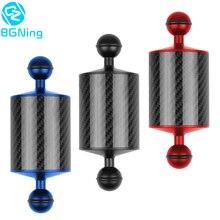 Flotador de fibra de carbono para cámara de buceo brazo acuático de doble bola, bandeja para Gopro /YI /EKEN para DJI para OSMO Action