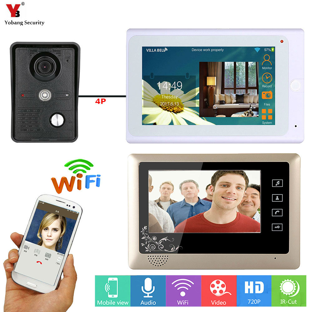 YobangSecurity Wifi Wireless Video Door Phone Doorbell Video Door Intercom Camera System With 2x 7inch Monitor Android IOS APP 2016 new wifi doorbell video door phone support 3g 4g ios android for ipad smart phone tablet control wireless door intercom