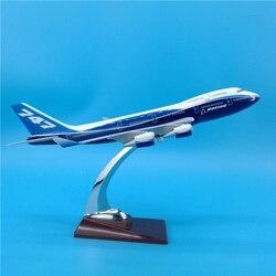 32 Cm Boeing B747 Prototype Blauwe Kleur Airlines Airway Airplane Model Speelgoed Vliegtuigen Diecast Plastic Lichtmetalen Plane Cadeaus Voor Kinderen