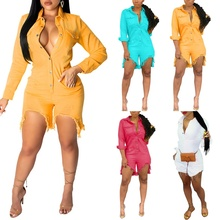 Womens Fashion Slim Elastic Buttons Design Denim One-piece Romper Sexy Skinny Night Club Jumpsuits for Women S-2XL