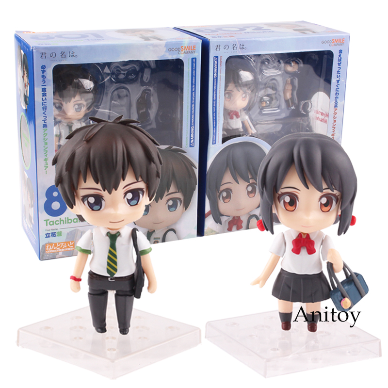 Anime PVC action Movie Your Name Nendoroid 801 Tachibana Taki 802 Miyamizu Mitsuha PVC Action Figure collection Toys 8~9.5cm anime movie your name tachibana taki